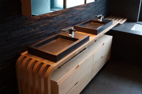 master bathroom - Portuguese stone and walnut counter