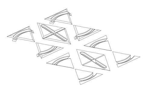Slicing pattern - Resulting triangular pieces