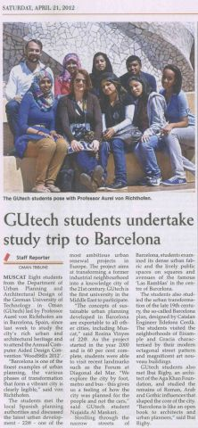 GUtech Students visit Barcelon with Prof. Aurel von Richthofen