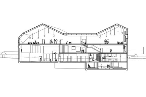 Crissier School - long section perspective
