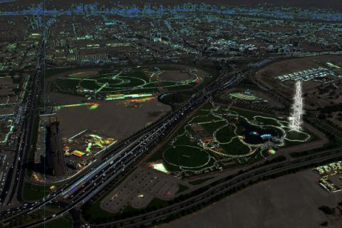 arial view at night