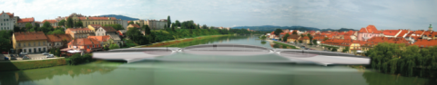 Tensairity bridge over Drava River