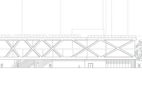 Vevey School - facade with cross beams